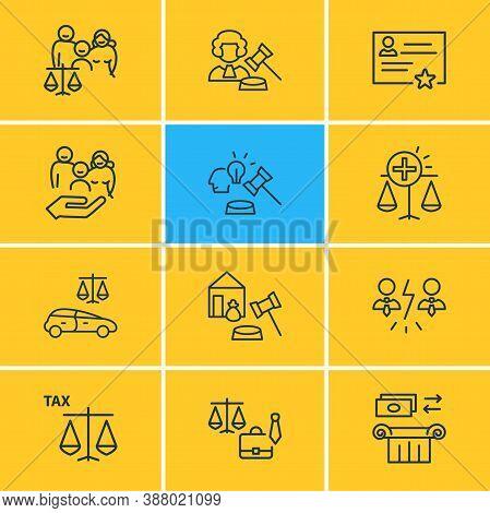 Vector Illustration Of 12 Law Icons Line Style. Editable Set Of Criminal Report, Inheritance Law, Ju