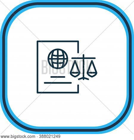 Vector Illustration Of Immigration Law Icon Line. Beautiful Law Element Also Can Be Used As Citizens
