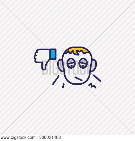 Vector Illustration Of Pessimistic Icon Colored Line. Beautiful Emoticon Element Also Can Be Used As