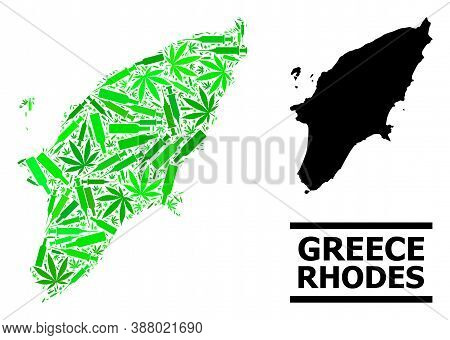 Addiction Mosaic And Solid Map Of Rhodes Island. Vector Map Of Rhodes Island Is Organized Of Randomi