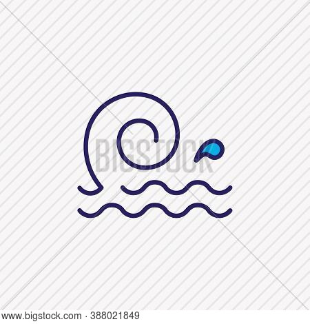 Vector Illustration Of Ocean Icon Colored Line. Beautiful Maritime Element Also Can Be Used As Big W