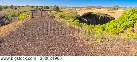 Top View Of The Historic Peavine Railroad Bridge In Paulden Az. The Railroad Was Abandoned Many Year
