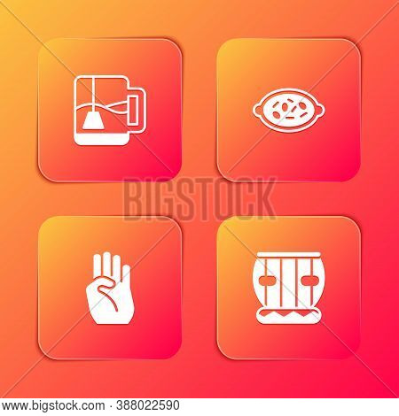 Set Cup Of Tea With Tea Bag, Kheer In Bowl, Indian Symbol Hand And Instrument Tabla Icon. Vector