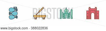 Set Tandoori Chicken, Scented Spa Stick, Taj Mahal And India Gate In Delhi Icon. Vector