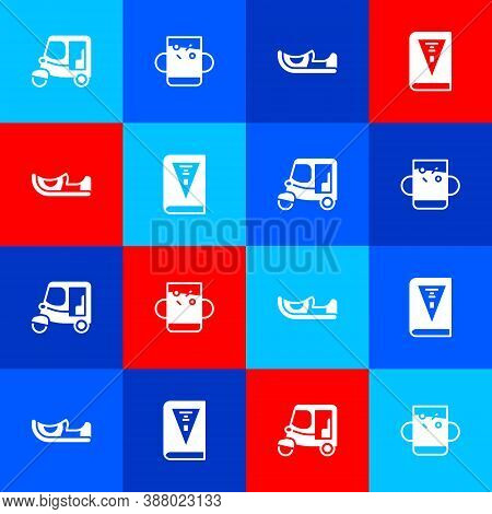 Set Taxi Tuk Tuk, Cup Of Tea And Leaf, Indian Shoes And Constitution Day Icon. Vector