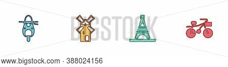 Set Scooter, Windmill, Eiffel Tower And Bicycle Icon. Vector