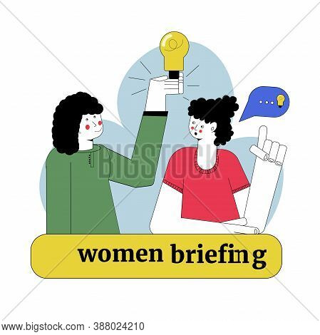 Business Conference. Woman Team Leader, Female Brainstorming. Office Meeting, Feminine Briefing Vect