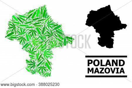 Drugs Mosaic And Solid Map Of Mazovia Province. Vector Map Of Mazovia Province Is Designed Of Random