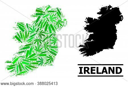 Drugs Mosaic And Solid Map Of Ireland Island. Vector Map Of Ireland Island Is Formed Of Random Vacci