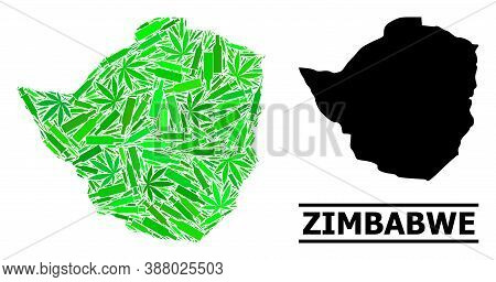 Addiction Mosaic And Solid Map Of Zimbabwe. Vector Map Of Zimbabwe Is Created From Random Injection
