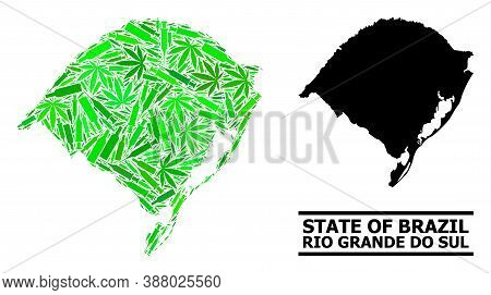 Addiction Mosaic And Usual Map Of Rio Grande Do Sul State. Vector Map Of Rio Grande Do Sul State Is