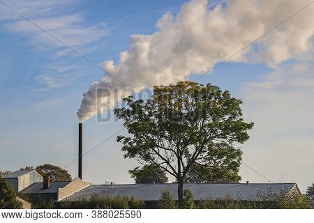 Smoke From Chimney Against A Blue Sky. Chimney In An Countryside Environment