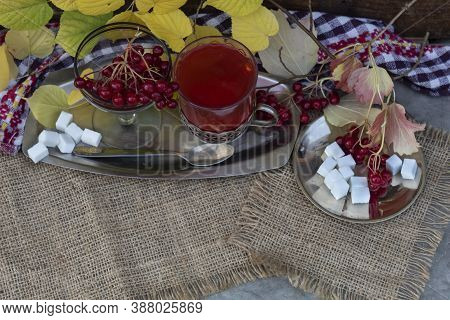 View From Above. On A Jute Fabric On A Tray There Is A Glass Of Tea With Viburnum And A Bowl With Vi