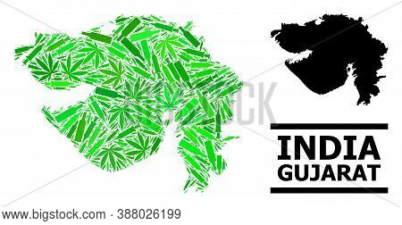 Drugs Mosaic And Usual Map Of Gujarat State. Vector Map Of Gujarat State Is Organized Of Scattered I