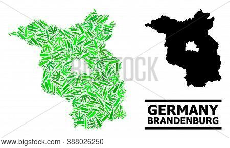 Addiction Mosaic And Usual Map Of Brandenburg State. Vector Map Of Brandenburg State Is Created From