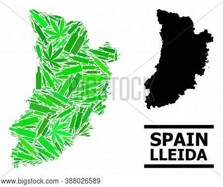 Drugs Mosaic And Solid Map Of Lleida Province. Vector Map Of Lleida Province Is Shaped With Randomiz
