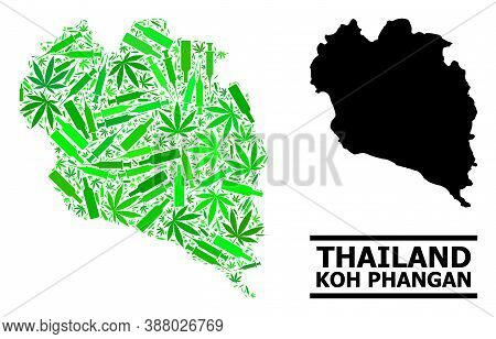 Drugs Mosaic And Usual Map Of Koh Phangan. Vector Map Of Koh Phangan Is Created With Scattered Vacci