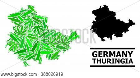 Drugs Mosaic And Usual Map Of Thuringia State. Vector Map Of Thuringia State Is Done From Randomized