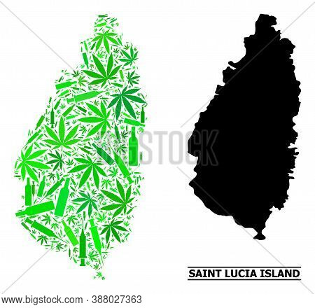 Addiction Mosaic And Solid Map Of Saint Lucia Island. Vector Map Of Saint Lucia Island Is Constructe