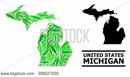Addiction Mosaic And Usual Map Of Michigan State. Vector Map Of Michigan State Is Designed Of Random