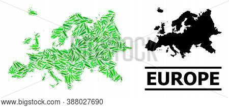 Drugs Mosaic And Solid Map Of Europe. Vector Map Of Europe Is Made With Scattered Injection Needles,