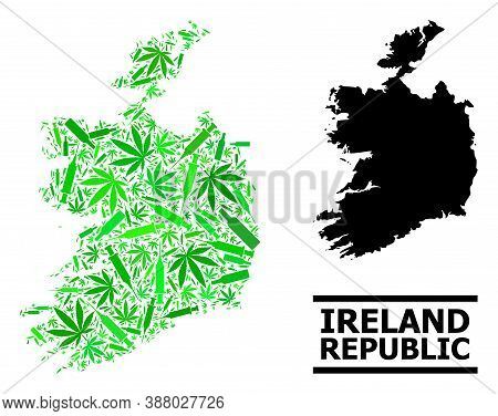 Drugs Mosaic And Solid Map Of Ireland Republic. Vector Map Of Ireland Republic Is Shaped From Random