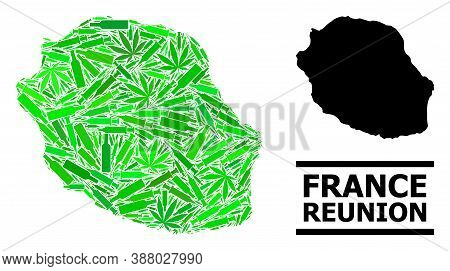 Addiction Mosaic And Usual Map Of Reunion Island. Vector Map Of Reunion Island Is Composed With Rand
