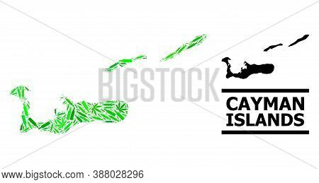 Drugs Mosaic And Solid Map Of Cayman Islands. Vector Map Of Cayman Islands Is Made With Randomized V
