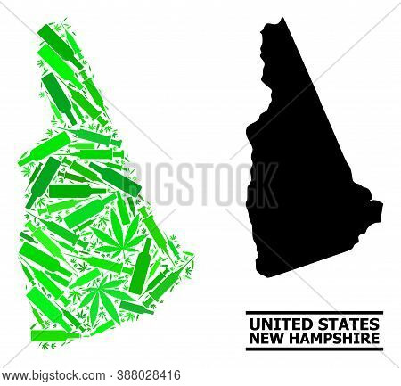 Addiction Mosaic And Usual Map Of New Hampshire State. Vector Map Of New Hampshire State Is Composed