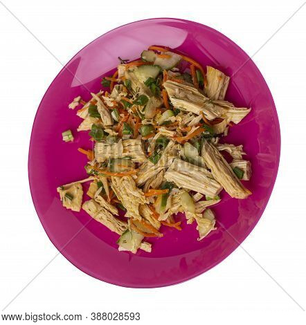 Salad With Soy Asparagus And Carrots, Cucumbers And Dumplings On Pink Plate. Vegetarian Soy Salad On