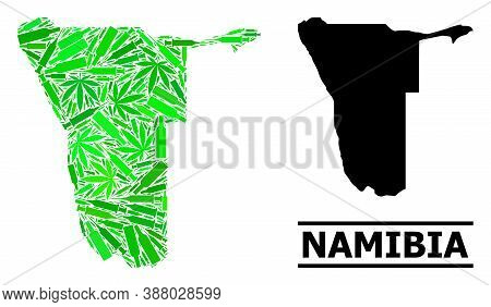 Drugs Mosaic And Solid Map Of Namibia. Vector Map Of Namibia Is Made With Randomized Inoculation Ico