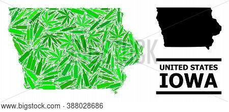Addiction Mosaic And Usual Map Of Iowa State. Vector Map Of Iowa State Is Made From Randomized Injec