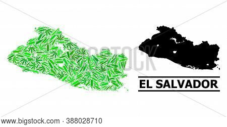 Addiction Mosaic And Usual Map Of El Salvador. Vector Map Of El Salvador Is Formed With Scattered In