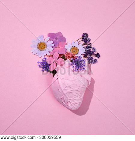 Floral Romantic Anatomical Heart. Minimal Concept. Top View