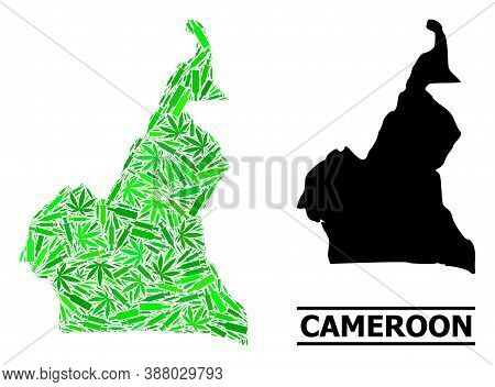 Addiction Mosaic And Solid Map Of Cameroon. Vector Map Of Cameroon Is Constructed Of Random Injectio