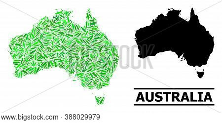 Drugs Mosaic And Usual Map Of Australia. Vector Map Of Australia Is Designed With Random Syringes, A