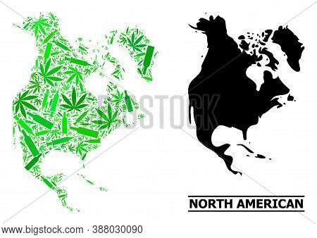 Drugs Mosaic And Solid Map Of North America. Vector Map Of North America Is Organized With Randomize