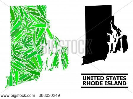 Addiction Mosaic And Usual Map Of Rhode Island State. Vector Map Of Rhode Island State Is Made With