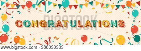 Congratulations Greeting Card With Retro Typography Design. Vector Illustration. 3d Colorful Letters