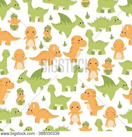 Childish Seamless Pattern With Cute Cartoon Dinosaurs - Diplodocus, Tyrannosaurus Rex, Stegosaurus A