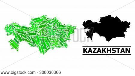 Drugs Mosaic And Usual Map Of Kazakhstan. Vector Map Of Kazakhstan Is Made From Randomized Syringes,