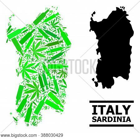 Addiction Mosaic And Usual Map Of Sardinia Region. Vector Map Of Sardinia Region Is Constructed Of S