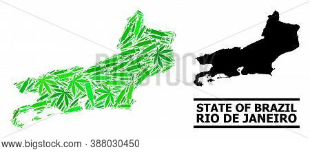 Drugs Mosaic And Usual Map Of Rio De Janeiro State. Vector Map Of Rio De Janeiro State Is Created Fr