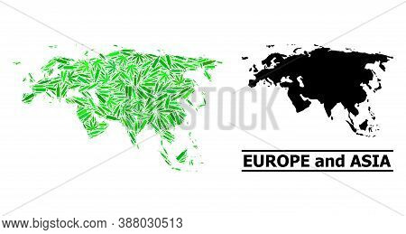 Drugs Mosaic And Usual Map Of Europe And Asia. Vector Map Of Europe And Asia Is Created From Scatter