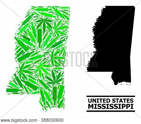 Addiction Mosaic And Solid Map Of Mississippi State. Vector Map Of Mississippi State Is Shaped Of Ra