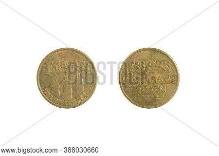 Alameda, Ca - Sept 22, 2020:  Old Tarnished Farrell's Ice Cream Parlor Game Token. Isolated On White
