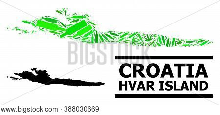 Drugs Mosaic And Usual Map Of Hvar Island. Vector Map Of Hvar Island Is Done With Random Vaccine Dos