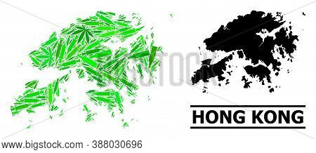Drugs Mosaic And Solid Map Of Hong Kong. Vector Map Of Hong Kong Is Designed With Scattered Vaccine
