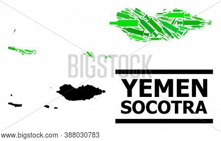 Drugs Mosaic And Solid Map Of Socotra Archipelago. Vector Map Of Socotra Archipelago Is Formed From