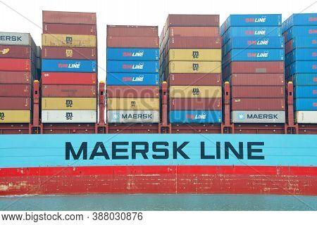 Oakland, Ca - Aug 28, 2020: Cargo Ship Gerner Maersk Entering The Port Of Oakland. Maersk Is The Wor
